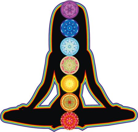 enlighten: dark figure of a girl meditating and glowing colored chakra