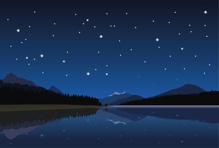mountain lake at night under the stars Illustration