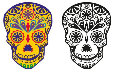 Figure sugar skulls with patterns Illustration