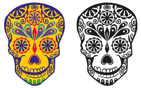 Figure sugar skulls with patterns Stock Vector - 13232690