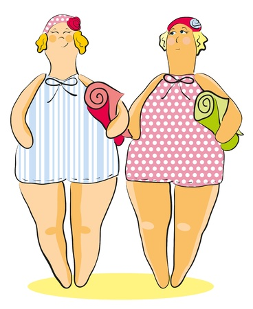 two fat women in bathing suits, hats and towels