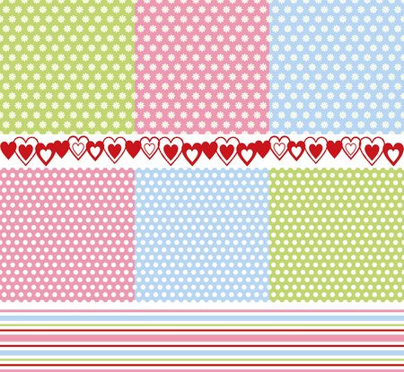 background texture of daisies and circles, border of hearts and stripes