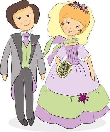 bride and groom in violet tones Illustration