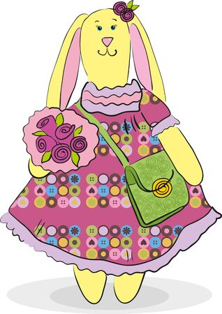Cute Bunny in a dress with a bag and a bouquet Illustration