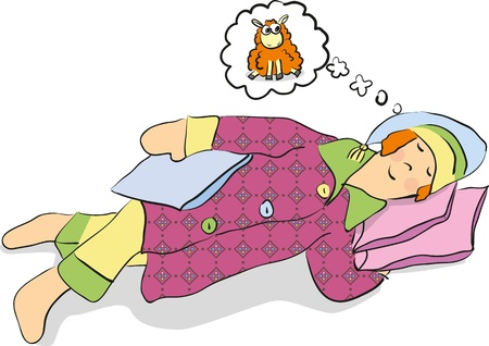 A man in pajamas asleep and dreaming Illustration