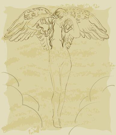 Beautiful vintage flying angel in sky Vector