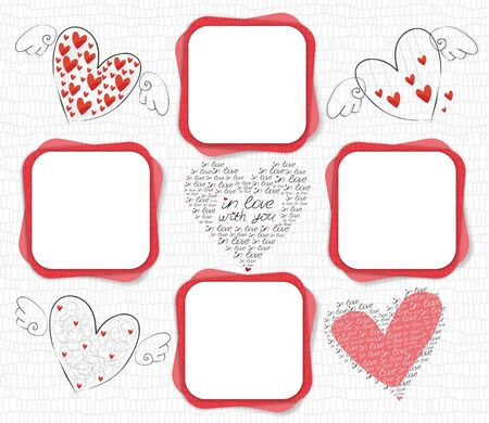 Frame for lovers in the style of scrap-booking with hearts
