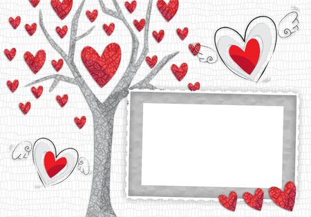 acceptance: Frame for lovers in the style of scrap-booking with hearts