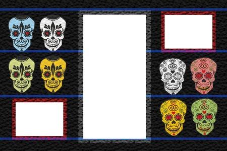 Stylish frame with sugar skulls photo