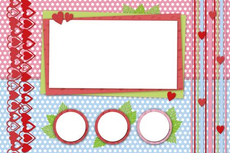 frame on a bright background with dots in the style of scrapbooking Stok Fotoğraf