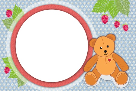 frame in the flower background with teddy bear and raspberries with green leaves