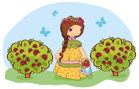 the girl in the garden gathering roses from the bushes Illustration