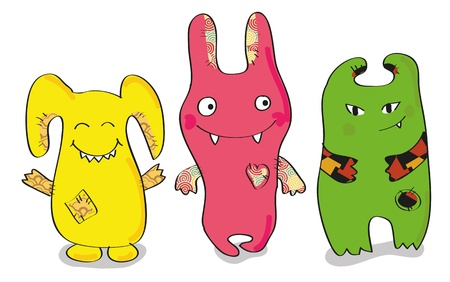 three happy-colored monsters Illustration