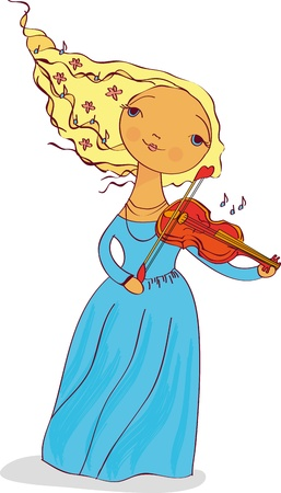 girl musician plays the violin Illustration