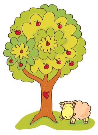 apple tree with fruit under which there is a cute sheep munching grass