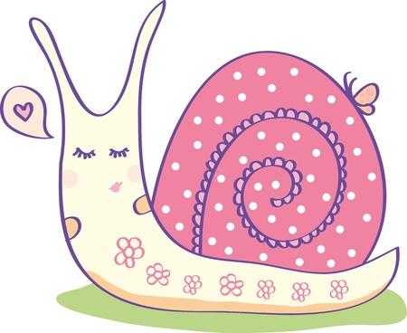 caracol: Caracol rosa con una cáscara de guisantes