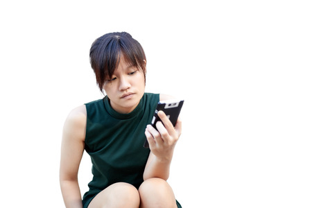 Portrait asian women play a social network on white background 스톡 콘텐츠