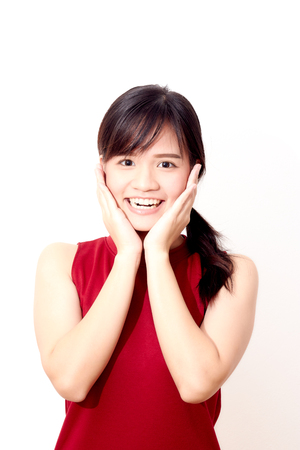 asian woman wearing a red dress smiling face on white background 스톡 콘텐츠