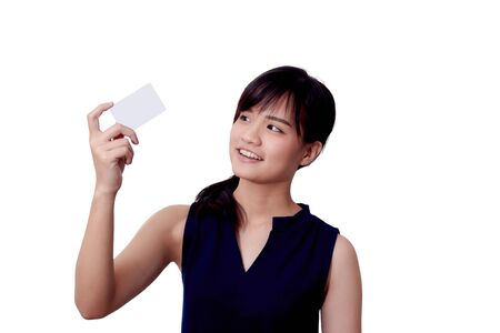 The women wear blue. With a credit card, on a white background.
