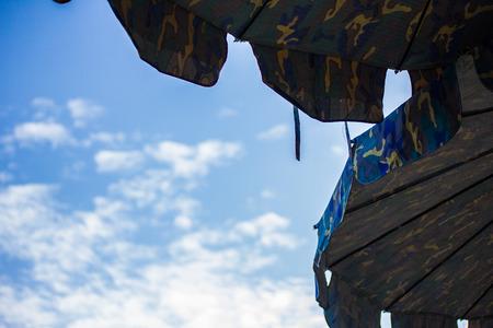 Beach umbrella and the sky.
