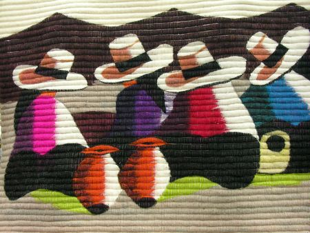 A tapestry of mexican colours and hats.