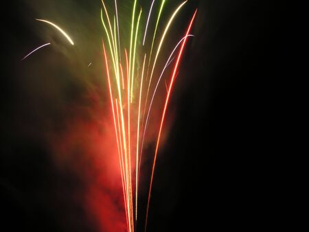 fawkes: Red, green and yellow fireworks.