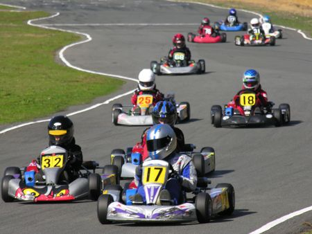 The start of a go kart race