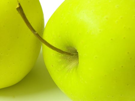 A close up shot of a green apple