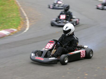 cornering: A cornering go-kart with more in the distance