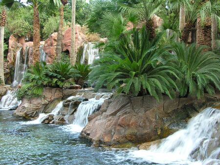 Tropical scene with some small waterfalls Stock Photo