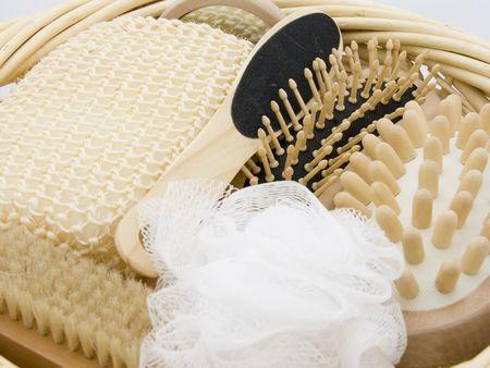giftbasket: Een geschenk mand vol luxe lichaamsverzorging objecten