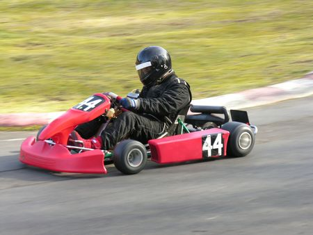 A racing red go kart. Stock Photo
