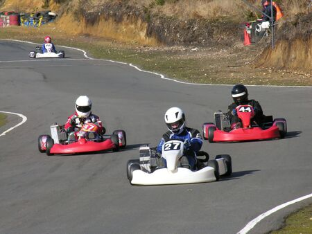 Three racing go karts