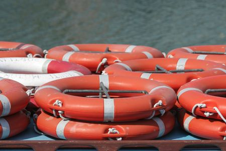reassurance: Many emergency life belts on a boat