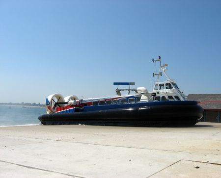 hovercraft: A hovercraft on shore Stock Photo