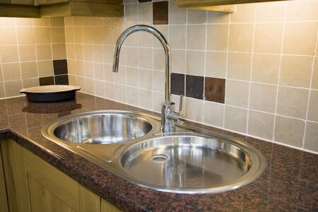 A modern stainless sink double sink Stock Photo