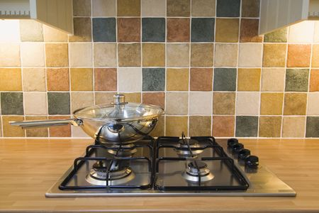 A new hob with frying pan Stock Photo