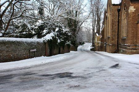 Borough street in Godalming, Surrey, England in the snow. Stock Photo