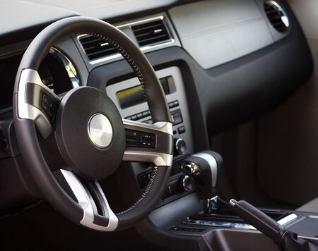 Interior of a modern car with a gray dashboard Stock Photo - 6948995