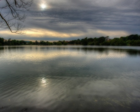 hampshire: Petersfield Lake in Hampshire, England on an overcast winters day.