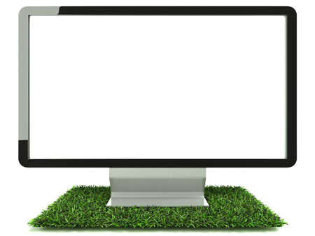 Monitor on grass with white background and front view photo