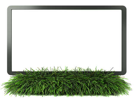 Monitor on grass with white background photo