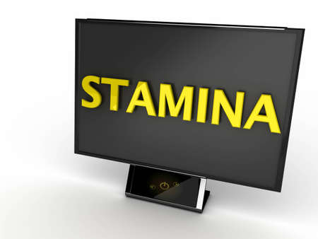 stamina: Black monitor on white background with yellow text  Stock Photo