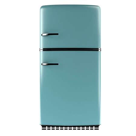 refrigerador: Nevera retro aislado sobre fondo blanco de la vista frontal