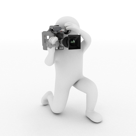 video camera: 3D guy with a camera on a white background