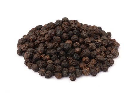 Black pepper on white background Stock Photo - 13833166