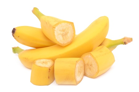 Bananas on a white background photo