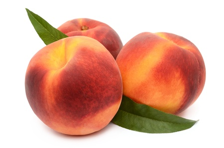 Peaches on a white background photo