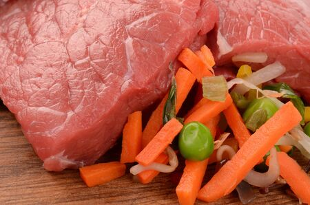 cow pea: Meat with vegetables Stock Photo