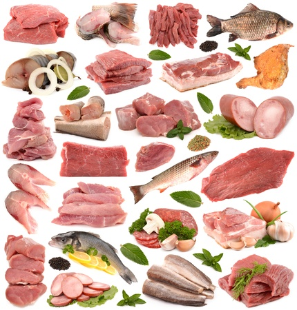 Meat collection on a white background Stock Photo